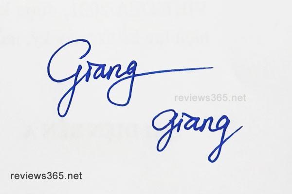 Mẫu chữ ký đẹp - chữ ký phong thủy - hướng dẫn ký tên bay bổng - chữ ký Giang - chữ ký tên Giang