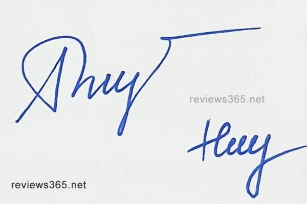 Mẫu chữ ký đẹp - chữ ký phong thủy - hướng dẫn ký tên bay bổng - chữ ký Huy