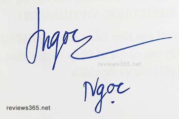 Mẫu chữ ký đẹp - chữ ký phong thủy - hướng dẫn ký tên bay bổng - chữ ký Ngọc